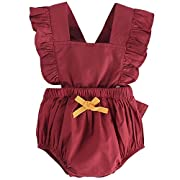 DeerBird Newborn Infant Baby Girl Ruffle Sleeve Bowknot Rompers Bodysuits Short Jumpsuits Size 6M Red