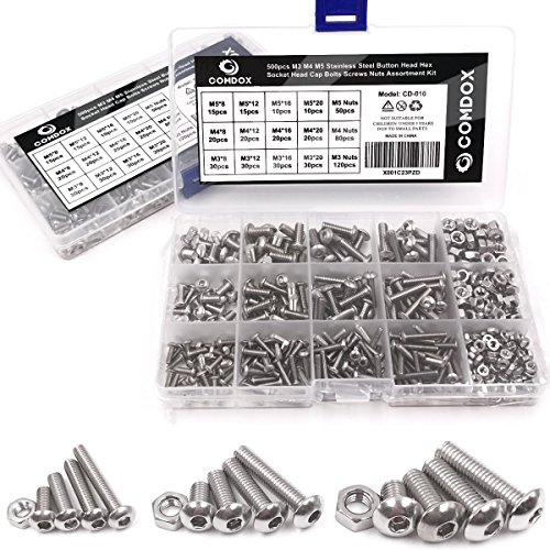 (Comdox 500Pcs M3 M4 M5 Stainless Steel Button Head Hex Socket Head Cap Bolts Screws Nuts Assortment Kit )