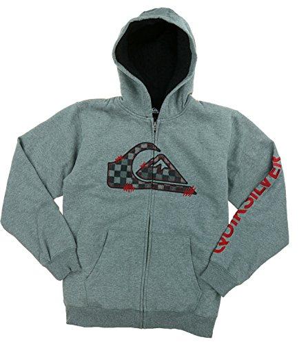 Fleece Lined Full Zip Jacket (QUIKSILVER BOYS SHERPA FLEECE LINED FULL ZIP JACKET (Large, Medium Grey)