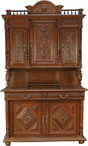 French Buffet Hutch (Antique French Carved Panel Doors Renaissance Henry II Oak Buffet Server Hutch)