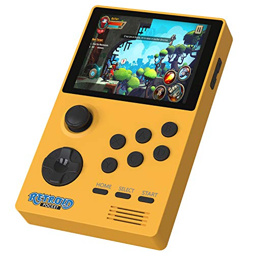 Android Handheld Game Console, Retro Mini Game Console Built-in 4000mAh Battery, 3.5-Inch Screen Retroid Pocket 2, Support WIFI & Bluetooth, Dual Boot Running Open Android and Retroid (Yellow 32GB)