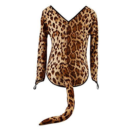 CHN'S 3 Pcs Women Halloween Leopard Catwomen Cosplay Jumpsuit+Headband+Necklace