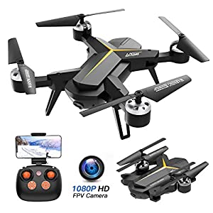 Foldable Drone with 1080P HD Camera for Adults and Kids – WiFi FPV RC Quadcopter for Beginners with Altitude Hold, Voice Control, Gravity Sensor, One Key Return to Home, 2 Batteries