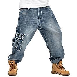 QIBOE Men's Hip Hop Light Denim Cargo Long Vintage Jeans