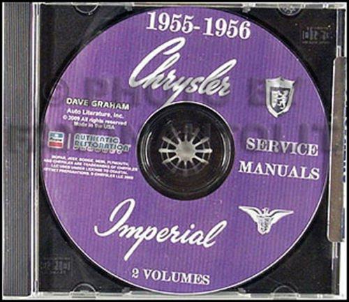 1955 1956 CHRYSLER & IMPERIAL CARS REPAIR SHOP & SERVICE MANUAL & BODY MANUAL CD INCUDES: Windsor, New Yorker, Custom Imperial, Crown Imperial, and the Chrysler-300 models. 55 56