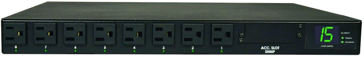 Tripp Lite Metered PDU with ATS, 15A, 8 Outlets (5-15R), 120V, 2 5-15P, 100-127V Input, 2 12 ft. Cords, 1U Rack-Mount Power, TAA, 2 Year Limited Warranty (PDUMH15AT)