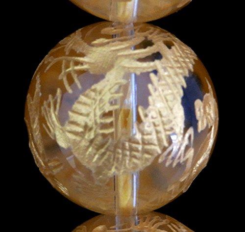 手彫り四神獣水晶 一連 (金塗) 連売り 素材 パーツ 丸玉 φ20mm一連  B07SBK8GCM