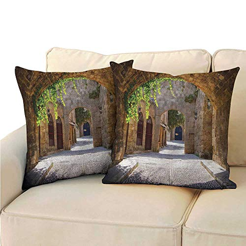 RuppertTextile Tuscan Square Pillowcase Ancient Italian Street Town Soft and Durable W13 x L13