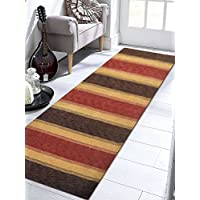 Rugsotic Carpets Hand Knotted Loom Woolen 2 6 x 10 Solid Runner Rug Brown Gold L00204