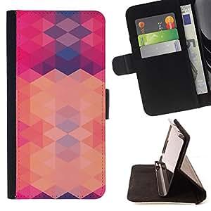 - Queen Pattern FOR Sony Xperia Z3 D6603 /La identificaci????n del cr????dito ranuras para tarjetas tir????n de la caja Cartera de cuero cubie - polygon pink purple pattern abstra