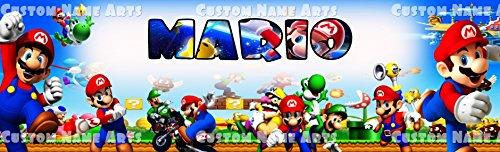 Personalized Super Mario Banner Birthday Poster Custom Name Painting (Super Mario Banner)