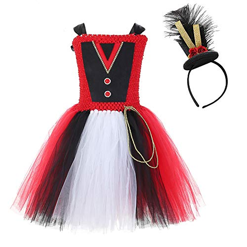 Circus Leader Costume (Halloween Circus Ringmaster Costumes for Girls Birthday Party Lion Tamer Costume Dress Up with Headband Size)
