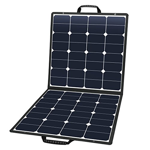 Suaoki 100W 18V 12V Solar Panel Charger SunPower Cell Portable Foldable with Dual Output (5V/2A USB + 18V/5A DC), 10 Laptop Connectors for Smartphones, Laptops, Car Batteries, Generator, Power Source by SUAOKI