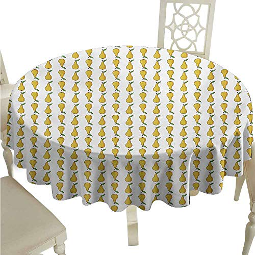 duommhome Pear Waterproof Tablecloth Pattern with Little Graphic Pears Up and Down Fresh Juicy Fruit Easy Care D35 Pale Earth Yellow Green White ()
