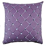 Weksi®Imitation Leather Style Throw Pillow Cover 18×18Cushion Cover Diagonal Striped Decorative Pillow Covers suitable for Couch and Sofa Pillow Cover(Purple)