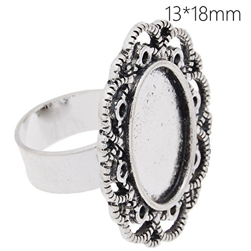 - Popular Style Antique Silver Plated Lace Edge Ring Base with 13x18mm Oval Blank Bezel-20pcs/lot