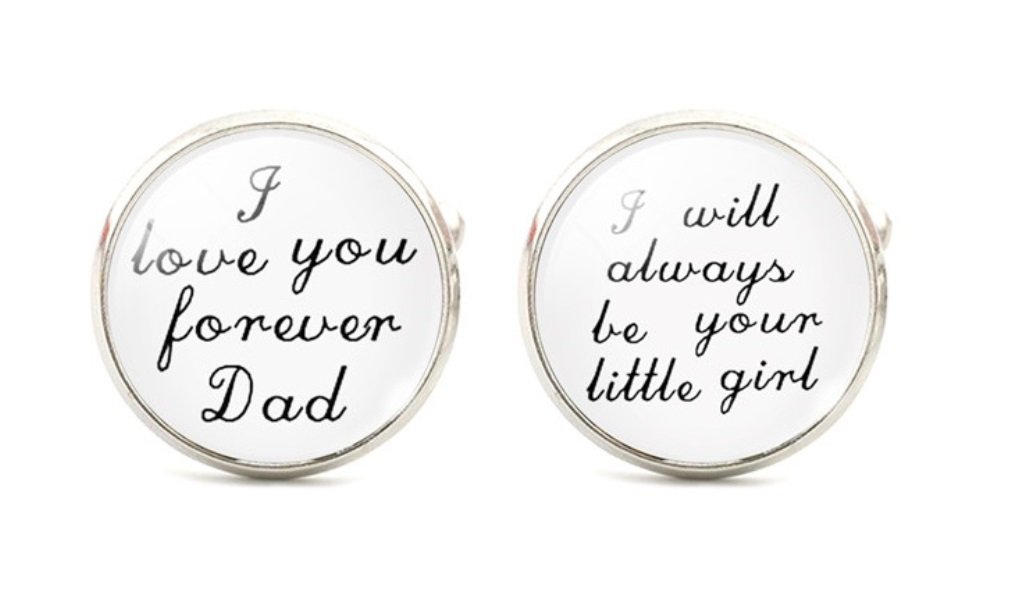 I Love You Forever DAD...I Will Always Be Your Little Girl Cuff Links Mens Cufflinks Wedding Father of the Bride Groomsmen White and Black st2
