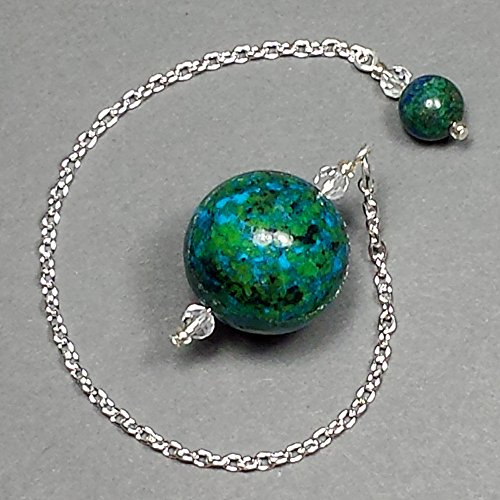 Chrysocolla Crystal Sphere Pendulum, Color Enhanced, with Chrysocolla Finger Grip, SSP62 (Crystal Pendulum Finger)