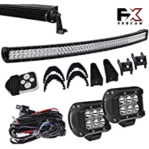4XBEAM DOT Windshield Roof Lights 54 Inch Curved Offroad Led Light Bar Wiring Kit Bumper Lights for Tundra Chevy Boat Chevrolet Silverado Truck Ford F250 2 Door Tahoe Rtv 900 Kubota
