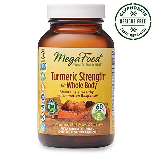 MegaFood, Turmeric Strength for Whole Body, Maintains a Healthy Inflammation Response, Vitamin and Herbal Dietary Supplement, Gluten Free, Vegan, 60 Tablets (30 Servings) (FFP) (Whole Basil)