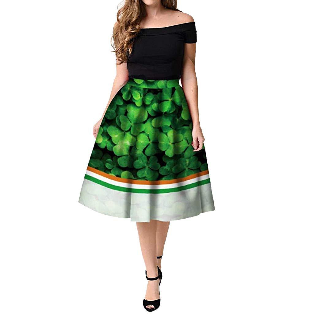 Colmkley Womens Midi Pleated Skirt Casual Clover Digital Printed A-line Skirt