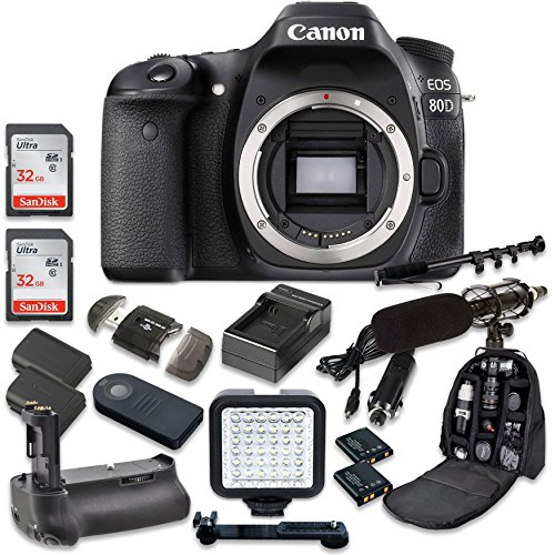 Canon EOS 80D Wi-Fi Full HD 1080P Digital SLR Camera Body Only + 2pc SanDisk 32GB Memory Cards + Battery Grip + Promotional Holiday Accessory Bundle (Special Promotional Bundle)