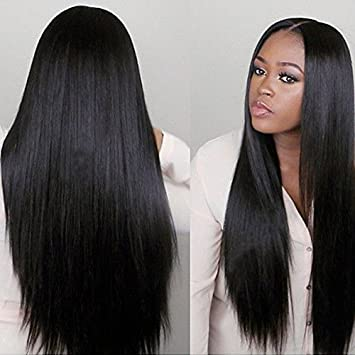 Amazon.com   FUHSI Synthetic Black Hair Real Natural For Women ... 695b3a9798