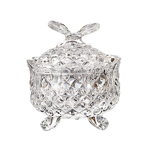 Footed Candy Dish Bowl (SOCOSY Royal Embossed Crystal Glass Candy Box with Lid Footed Jewelry Box Candy Jar Bowl Wedding Candy Buffet Jars Kitchen Storage Jar)