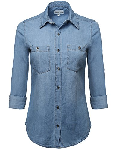 Classic Button Closure Roll up Sleeves Chest Pocket Denim Ch