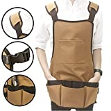 Jian Ya Na Garden Tool Apron Professional Heavy Duty Canvas Water-resistant Work Apron with Adjustable Belt Multi-Pockets Grilling Tools for Men And Women,Coffee