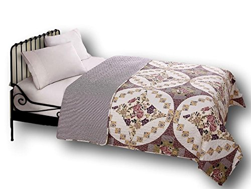 DaDa Bedding Collection Wisteria Roses Elegant Quilted Coverlet Bedspread Set - Bright Vibrant Floral Multi Colorful Dusty Rose Solid Mauve Purple & White - Queen - 3-Pieces. by DaDa Bedding Collection