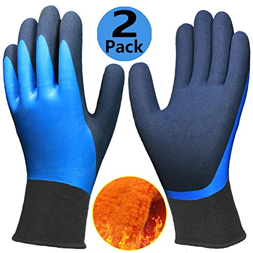 Waterproof Thermal Gloves (Cold Weather Work Gloves 2 Pack, Double Coating Superior Grip Water-Proof Winter Gloves, Polar Fleece Liner Warm Comfortable for Outdoor Garden Auto Fishing Riding Snow Activities.)