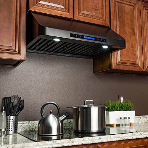 Golden Vantage 36 in Under Cabinet Range Hood in Black Painted Stainless Steel with Touch Control and Remote Control