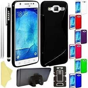 BAASA® Samsung Galaxy J5 - Stylish S Line Gel Case Cover , Touch Screen Stylus Pen , 2X Screen Protector Guard & Desktop Stand, [Importado de Reino Unido]