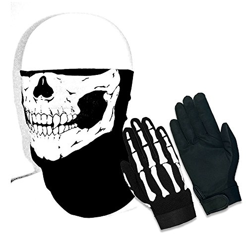 Half Skull Face Mask & Skeleton Mechanic Gloves BLACK COMBO 2pc Set - Heavy Duty Biker Mechanics Glove Plus Motorcycle Stretchable Riding Mask (Large Gloves w/One Size Fits All Mask)