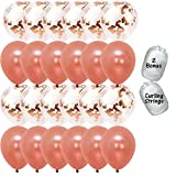 """12 Rose Gold Confetti Balloons and 12 Rose Gold Latex Balloons, 12"""" with Bonus String"""