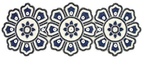 (Beaded Table Runner 13x36 - circle design -Navy charcoal white )