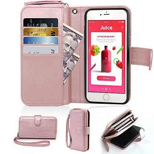 Detachable Zipper Strap (iPhone 6 Plus Zipper Wallet Case, iPhone 6s Plus Wallet Case,JLFCH Leather Zipper Wallet Case,Detachable Wrist Strap,Protective Case For iPhone 6 Plus/iPhone 6s Plus 5.5 inch, Rose Gold)