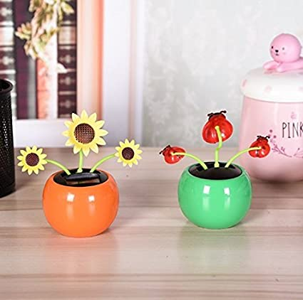 99c9cdf3d0046 URbeauty 2Pcs Light Solar Planter Swing Moving Dancing Solar Power Flower  Flowerpot Bee Beetle Swing Solar