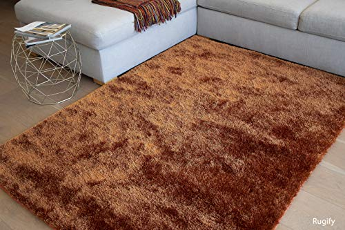 LA Large Plush Fluffy Soft Furry Fuzzy Shag Shaggy Big Soft Plush Rectangle Plain Solid 8-Feet-by-10-Feet Polyester Made Area Rug Carpet Rug Orange Rust ()