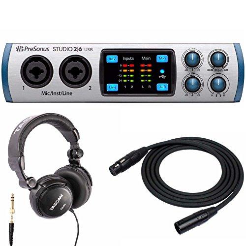 PreSonus Studio 26 USB 2x4 MIDI Interface with Tascam Studio Headphones & XLR Cable by PreSonus