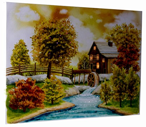 Light Up Canvas Wall Art by Clever Creations | Beautiful Autumn Log Cabin Wall Art with LEDs | 12' x 16' Perfect Size for Home, Living Room, Office or Classroom | Battery Powered