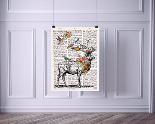 Elk with Birds and Flowers Vintage Dictionary Style Art Print | Unframed | 8.5 x 11