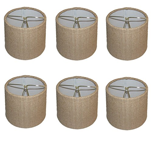 Upgradelights Set of Six - 6 Inch Barrel Drum Chandelier Shades in Natural Burlap Fabric 5x6x5 ()