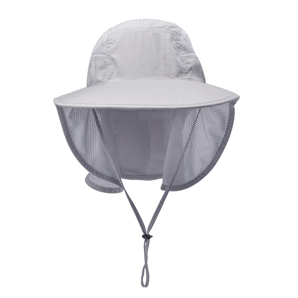 eaff1205ca2256 Amazon.com: Lenikis Unisex Outdoor Activities UV Protecting Sun Hats with Neck  Flap Grey: Clothing