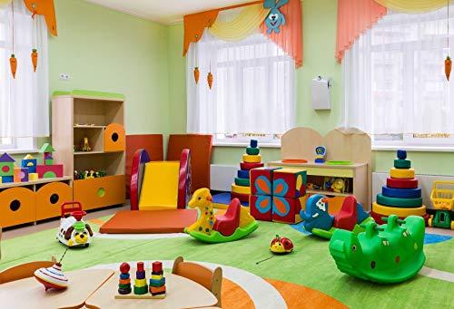 Leyiyi 5x3ft Photography Background Kindergarten Backdrop Children Room Playroom Fun Fair Classroom Window Curtain Corner Blur Toys Bricks Books Colorful Balls Kids Photo Portrait Vinyl Studio Prop (Number Vinyl 3' Reflective)