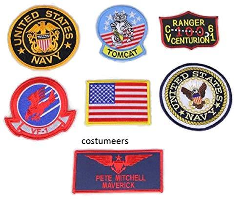 TOPGUN TOP Gun Maverick Name TAG Flight Suit Navy Tomcat Patch Set of 7 Costume