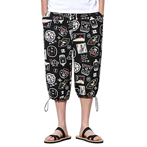 Aleola Men's Vintage Printed Wide-Legged Pants Large Baggy Pants (Gray,L)