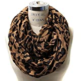 Scarfand's Animal Print Infinity Scarf Wrap Collection (Leopard Brown)
