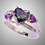 Best Selling Rainbow & White Topaz Amethyst Gemstone Silver Ring Sz 6 7 8 9 10 (6)